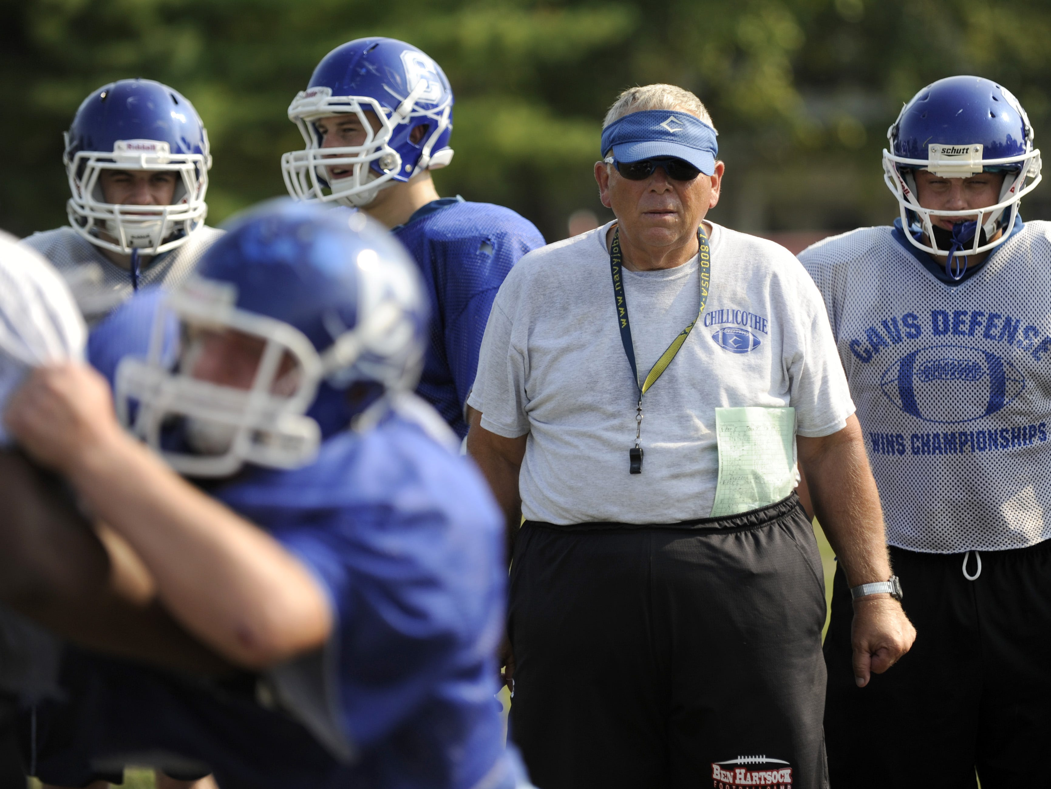 Chillicothe coach Ron Hinton observes drills during a September practice this past season.