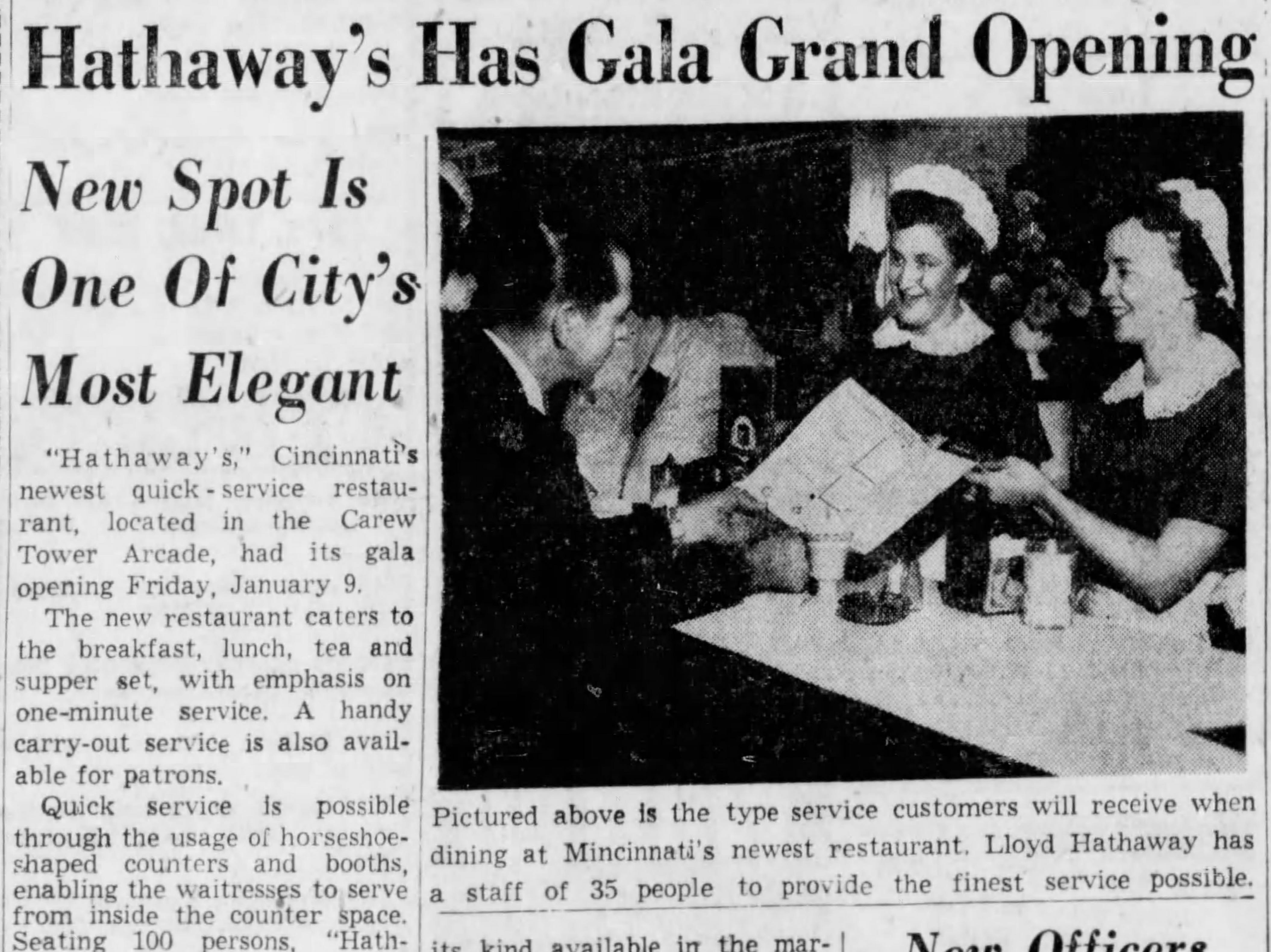 JANUARY 11, 1958: Hathaway's Has Gala Grand Opening. The Cincinnati Enquirer article, 1/11/1958. Hathaway's opens in Carew Tower. Scanned 1/17/2019