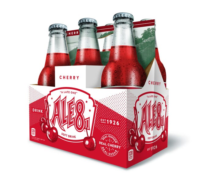 A carton of the new cherry flavor of Ale-8-One, now available in Ohio