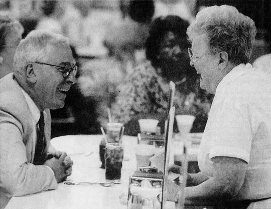 Enquirer file, Aug. 9, 1995: Bob Chaiken of Amberley Village, left, jokes with Kati Key, who he calls `the best waitress in the whole city,' at Hathaway's Coffee Shop in Carew Tower.