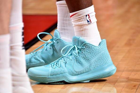 The sneakers of Gary Clark of the Houston Rockets are worn during a game against the Brooklyn Nets on January 16, 2019 at the Toyota Center in Houston, Texas.