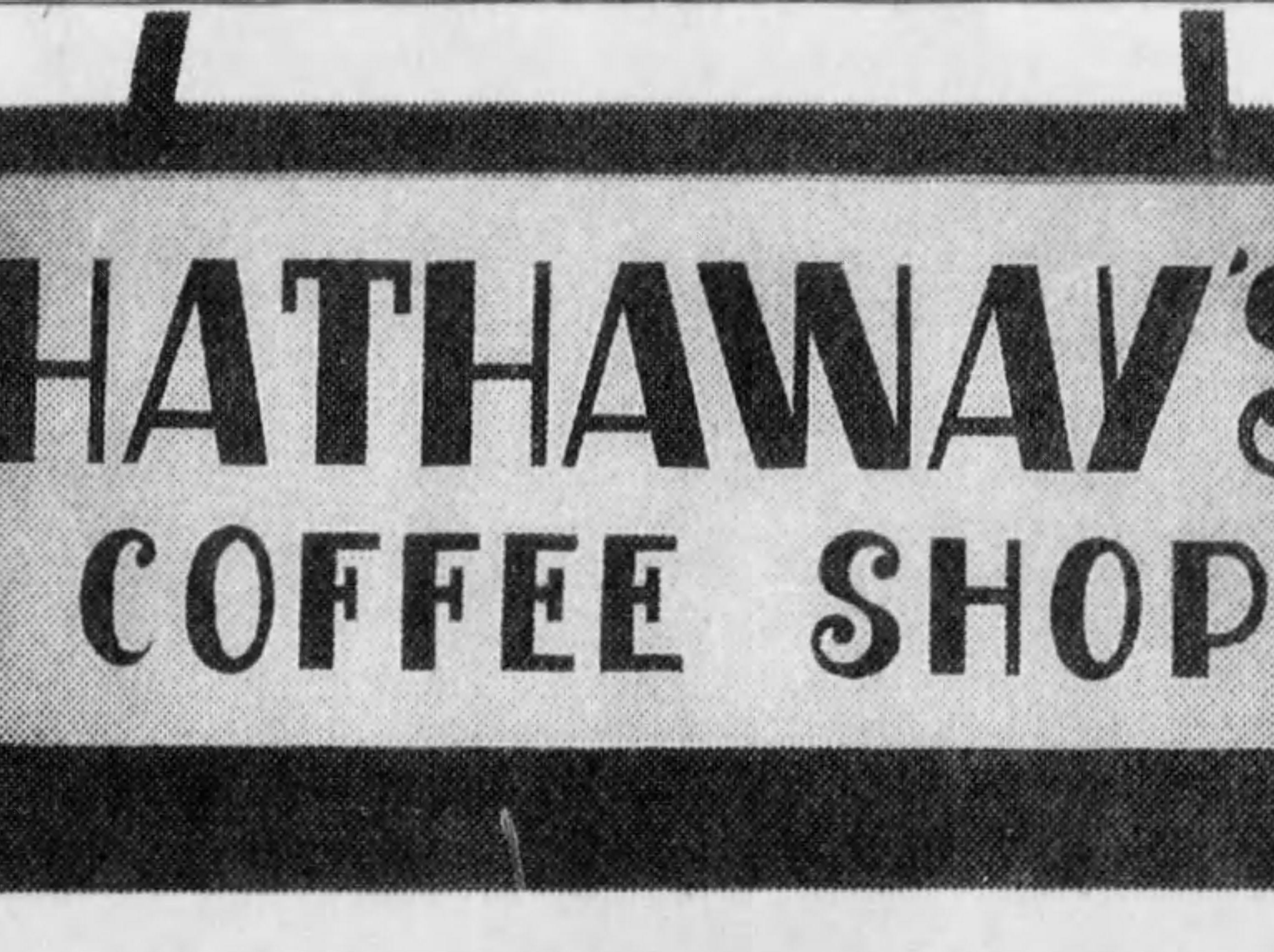 Hathaway's coffee shop in Carew Tower  Scanned from microfilm 1/17/2019