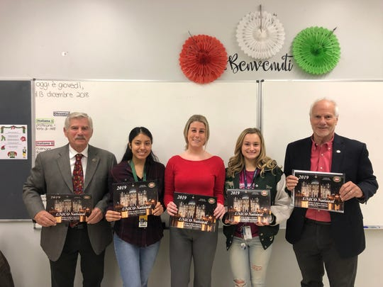 Left to right: UNICO Plainfields' Chapter President Bob Bengivenga;  SPHS student Kelly Lizano; SPHS Italian language teacher Stephanie White; SPHS student Jillian Bengivenga; UNICO National Membership Director Anthony Bengivenga