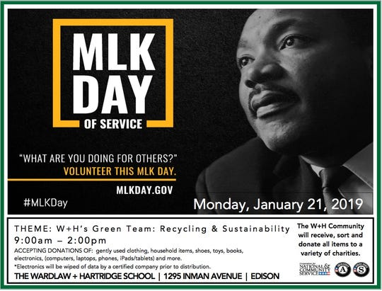 The 2nd annual MLK Jr. Day of Service Recycling Event will be conducted on Monday, Jan. 21, at The Wardlaw + Hartridge School, 1295 Inman Ave. in Edison.