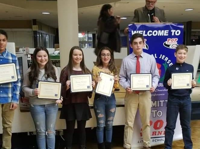 Lindsay	Harrington of Monroe Township Middle School; Gabriella Domiciano of South River Middle School; Megan Lawson-Levy of Monroe Township Middle School; Ava Mendes of South River Middle School; Maya Yanchuck of Spotswood Memorial School; Jack Rice of West Windsor Middle School;             Tiana Cipot of Linwood Middle School; Laura Dinan	of Melvin H. Kreps Middle School;	     Gabriella Domiciano of South River Middle School; Lindsay Harrington of Monroe Township Middle School; Jack Rice of West Windsor Middle School; Isa McMillan of South River Middle School; 	 Michael Chiaravallo of Millstone Middle School; John Tristano of IS 07 Elias Bernstein School, Staten Island  A few students received 2 scholarships. One for a Essay Question and another for Highest GPA.