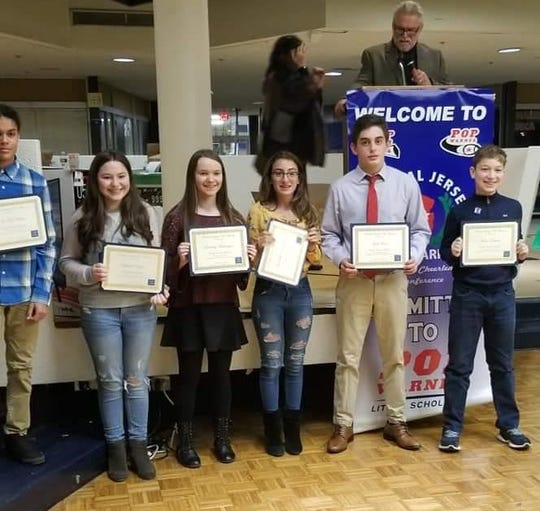 LindsayHarrington of Monroe Township Middle School; Gabriella Domiciano of South River Middle School; Megan Lawson-Levy of Monroe Township Middle School; Ava Mendes of South River Middle School; Maya Yanchuck of Spotswood Memorial School; Jack Rice of West Windsor Middle School;             Tiana Cipot of Linwood Middle School; Laura Dinanof Melvin H. Kreps Middle School;     Gabriella Domiciano of South River Middle School; Lindsay Harrington of Monroe Township Middle School; Jack Rice of West Windsor Middle School; Isa McMillan of South River Middle School;  Michael Chiaravallo of Millstone Middle School; John Tristano of IS 07 Elias Bernstein School, Staten Island  A few students received 2 scholarships. One for a Essay Question and another for Highest GPA.