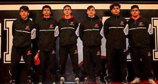 Woodbridge High School senior wrestlers (L-R) Sergio Cespedes , Xavier Laracuente, Jaden Catalano, Joe Brucato, Yusuf Elbayar and Chris Costales