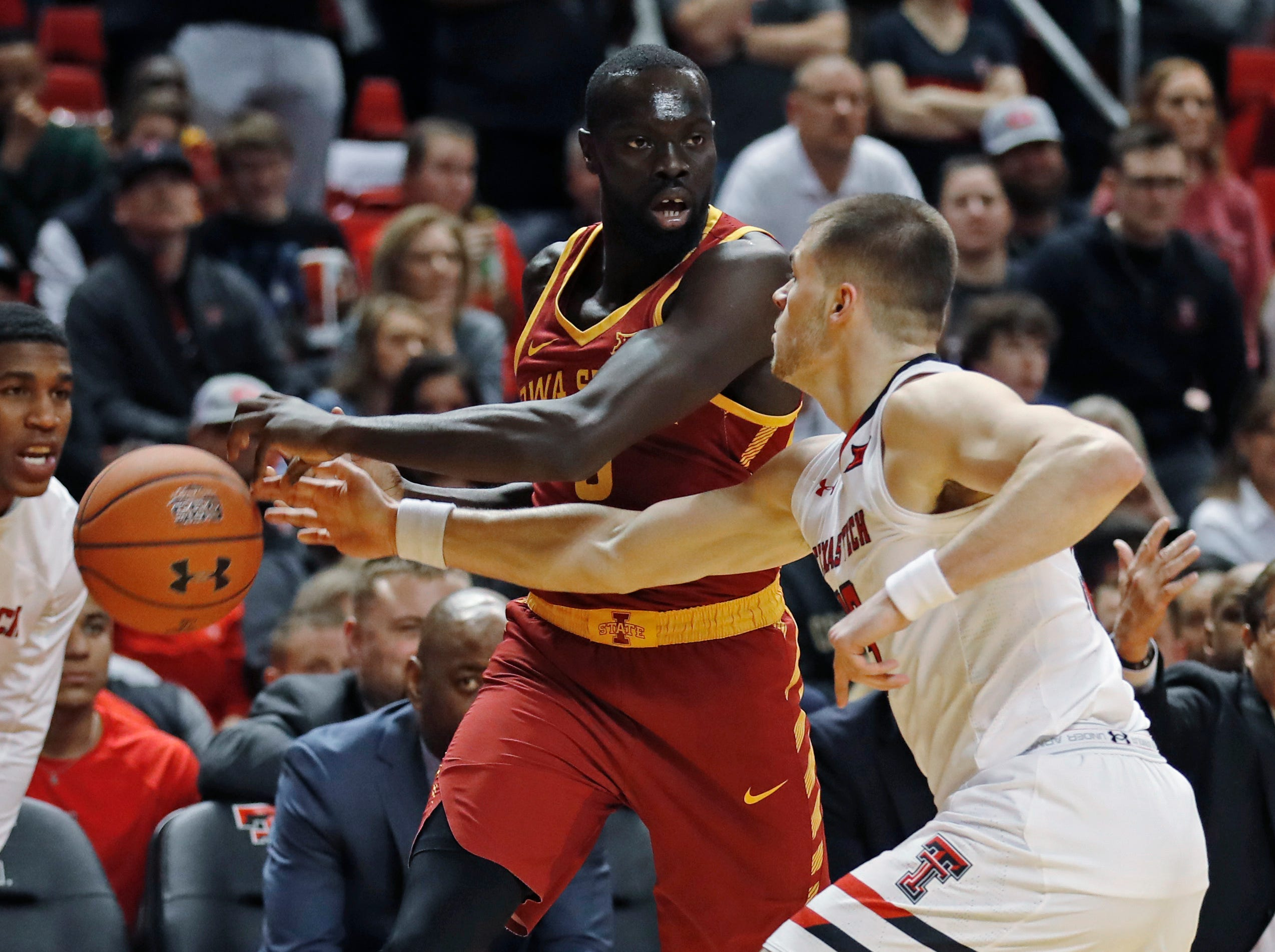 Texas Tech's Matt Mooney, right, steals the ball away from Iowa State's Marial Shayok during the first half of an NCAA college basketball game Wednesday, Jan. 16, 2019, in Lubbock, Texas.