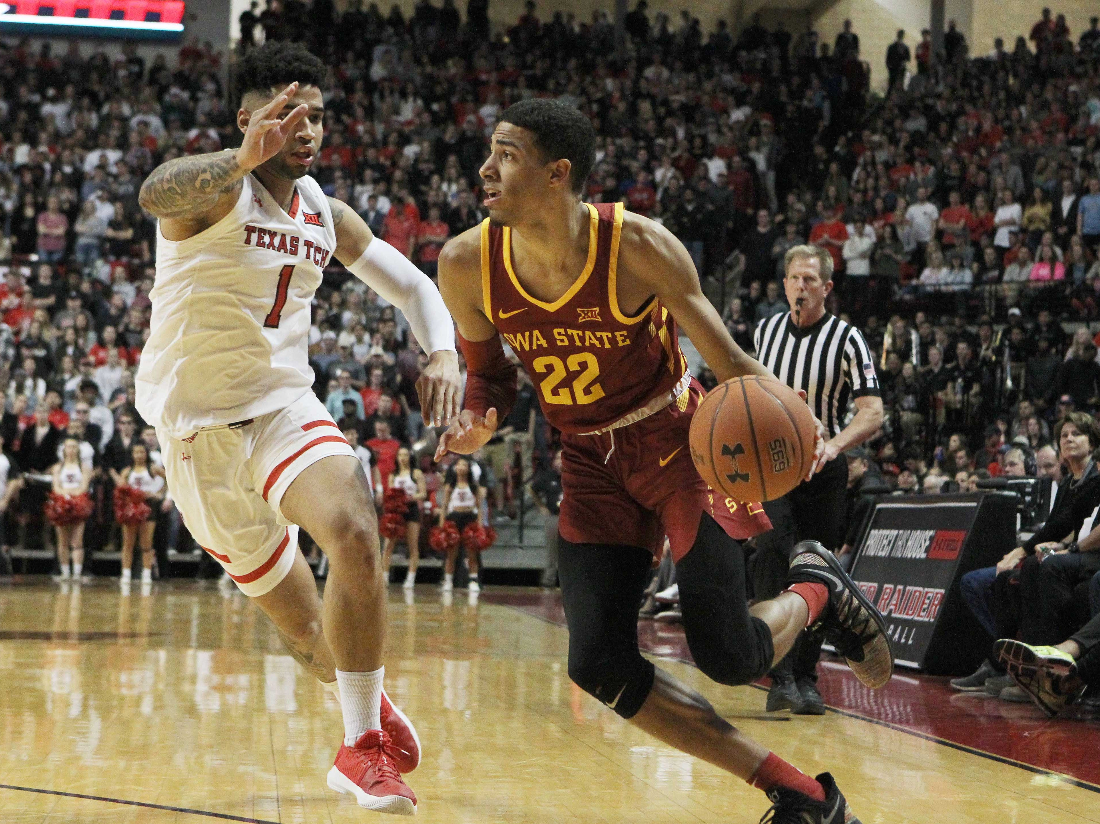 Jan 16, 2019; Lubbock, TX, USA; Iowa State Cyclones guard Tyrese Haliburton (22) dribbles the ball as Texas Tech Red Raiders guard Brandone Francis (1) defends in the first half at United Supermarkets Arena.