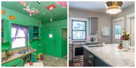 Before and after of a Rally Cap Properties remodel in Woodland Heights.