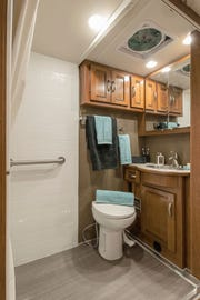 The bathroom of Winnebago Industries' Forza 34T AE  is pictured here. It's among three wheelchair-friendly models introduced at the 2019 Florida RV Supershow.