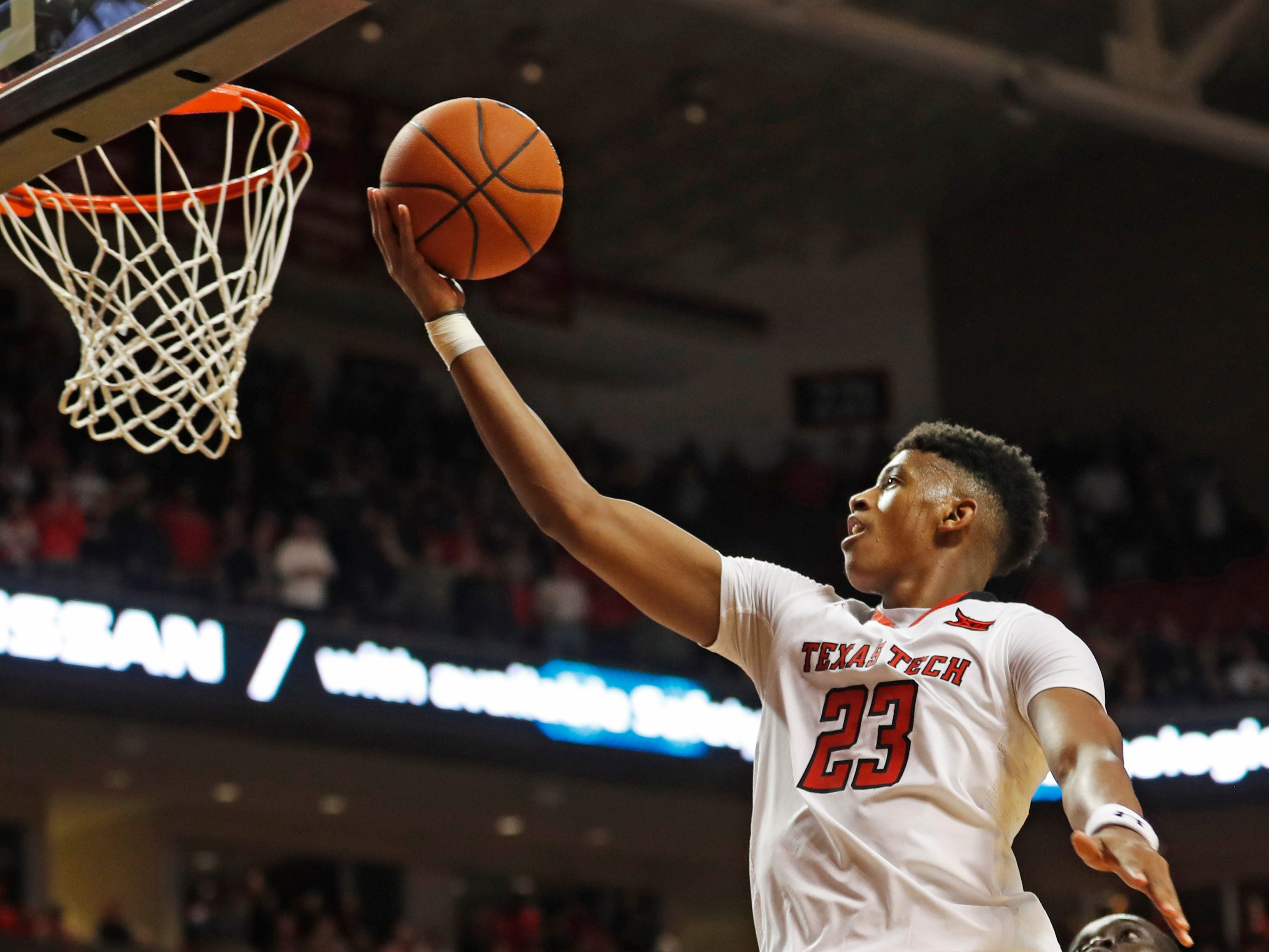 Texas Tech's Jarrett Culver (23) lays up the ball during the second half of the team's NCAA college basketball game against Iowa State, Wednesday, Jan. 16, 2019, in Lubbock, Texas.
