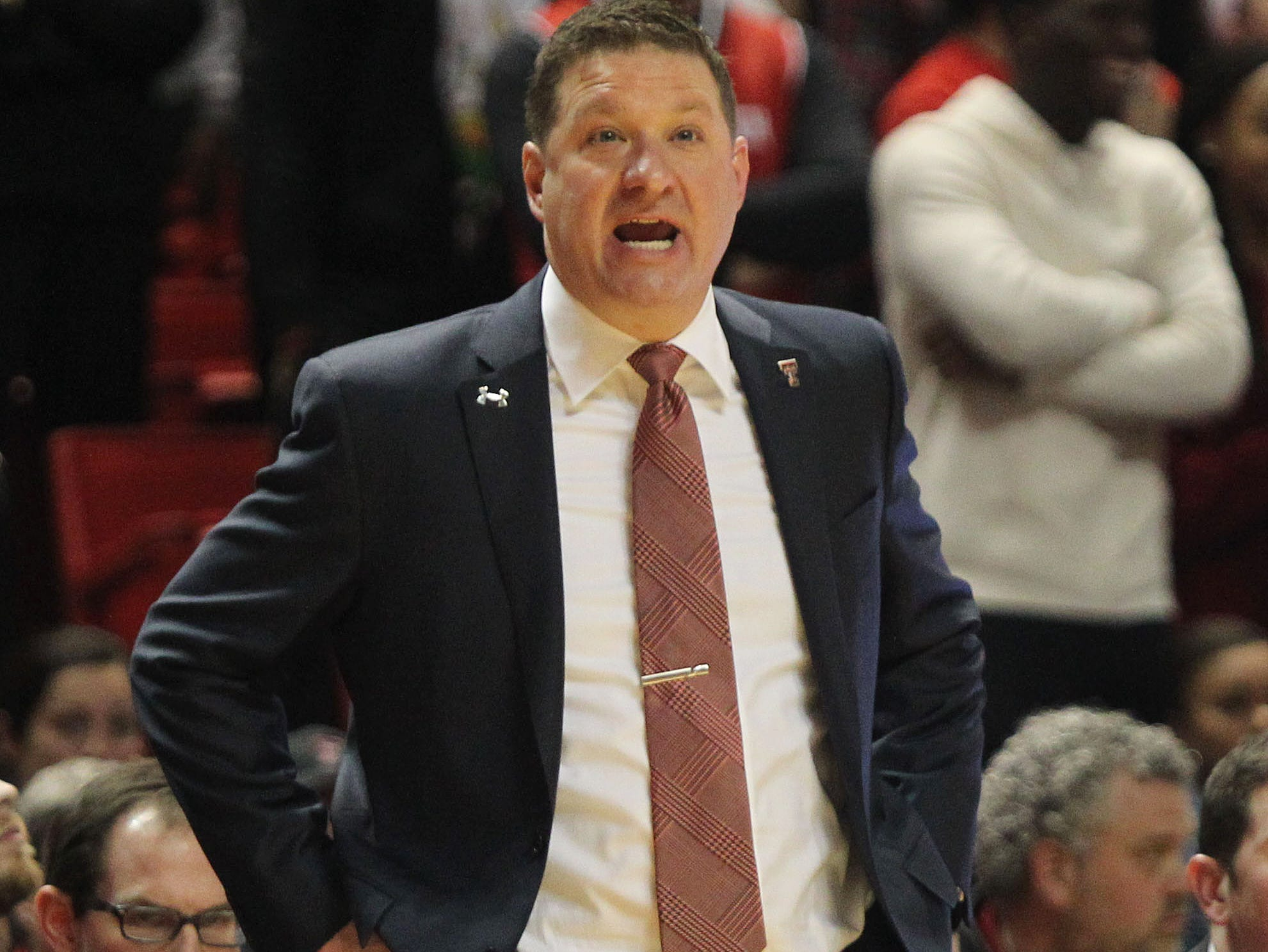Jan 16, 2019; Lubbock, TX, USA; Texas Tech Red Raiders head coach Chris Beard reacts on the sidelines during the game against the Iowa State Cyclones at United Supermarkets Arena.