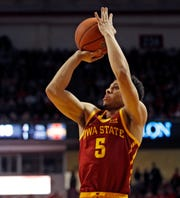 Iowa State's Lindell Wigginton (5) shoots during the first half of the team's NCAA college basketball game against Texas Tech, Wednesday, Jan. 16, 2019, in Lubbock, Texas.