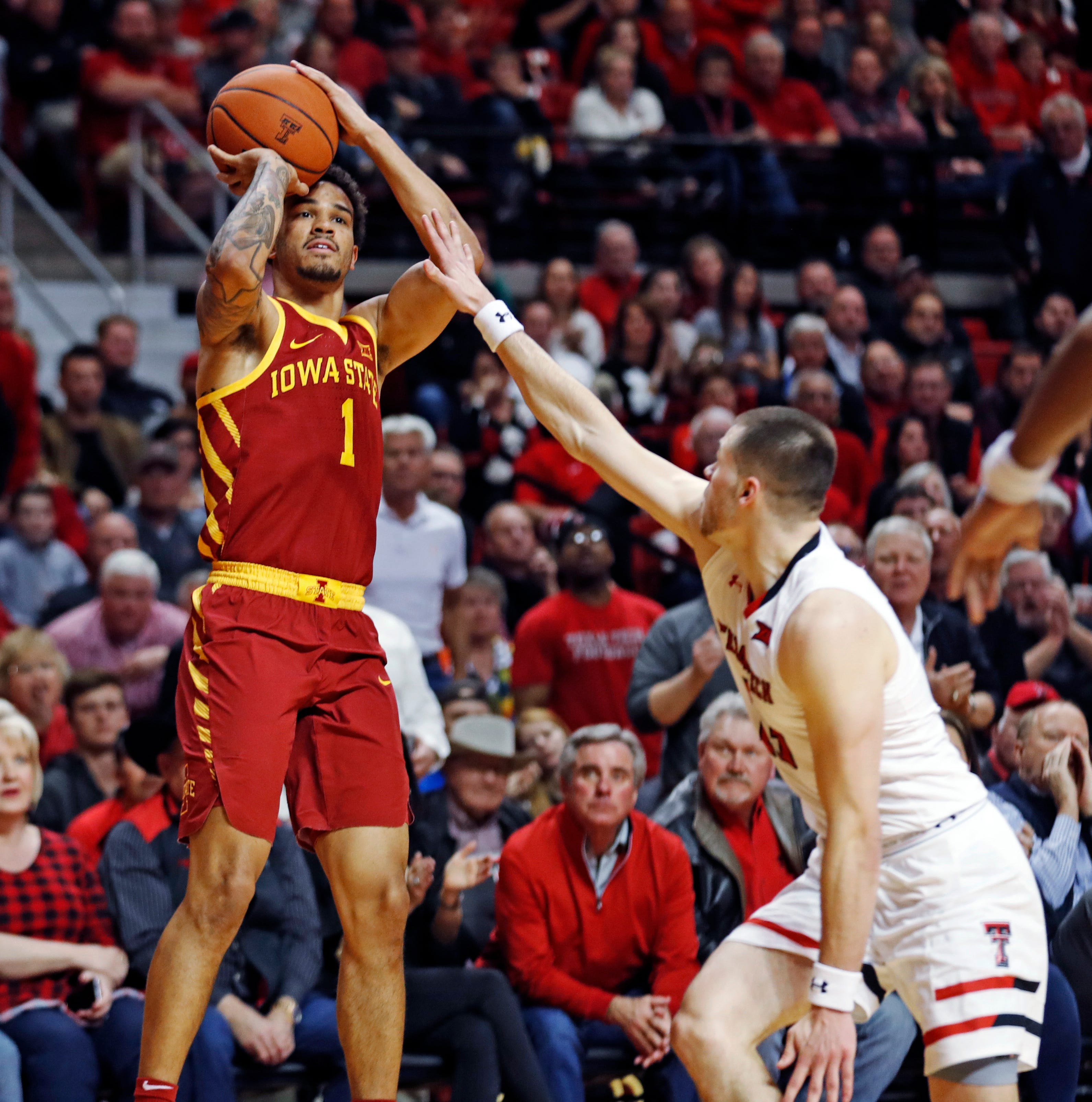 Iowa State's Nick Weiler-Babb (1) shoots over...