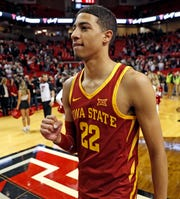 Iowa State's Tyrese Haliburton clenches his fist after the team's NCAA college basketball game against Texas Tech on Wednesday, Jan. 16, 2019, in Lubbock, Texas.