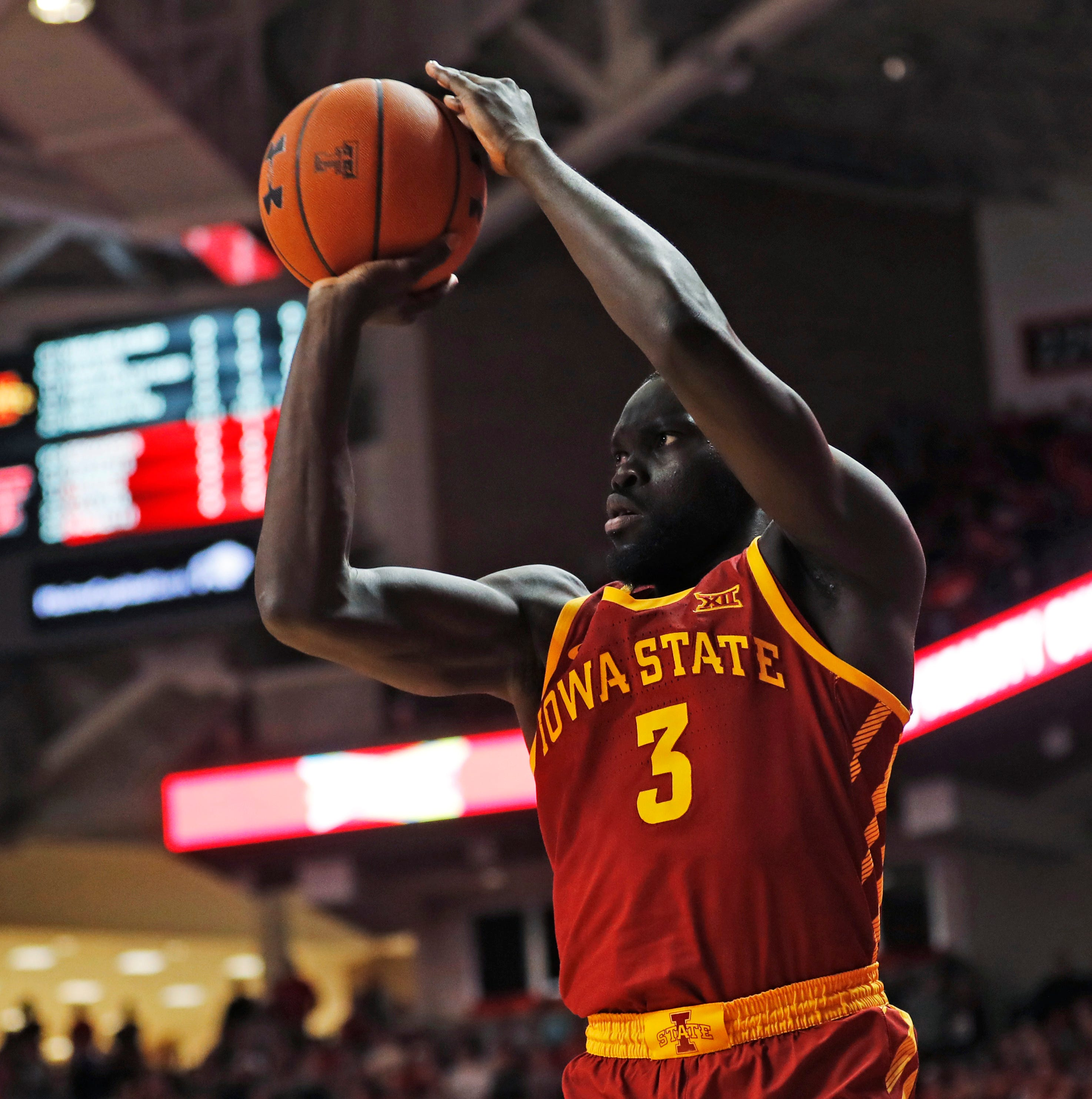 Iowa State's Marial Shayok shoots a 3-pointer...