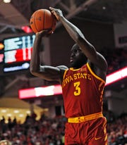 Iowa State's Marial Shayok shoots a 3-pointer during the first half of the team's NCAA college basketball game against Texas Tech, Wednesday, Jan. 16, 2019, in Lubbock, Texas.