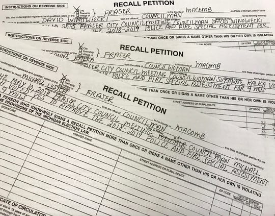 Proposed recall petitions filed against three Fraser city council members on Jan. 9, 2019.