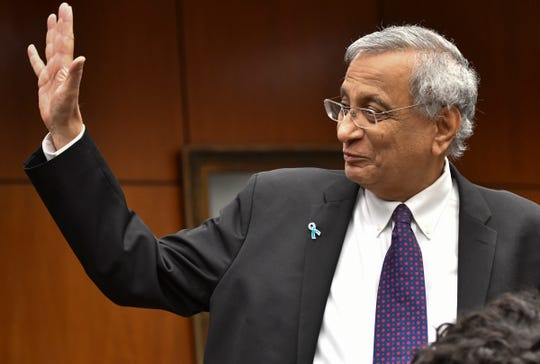 Satish Udpa is named interim president of Michigan State University. on Thursday, Jan. 17, 2019, during a Board of Trustees meeting at the Hannah Administration Building at MSU.