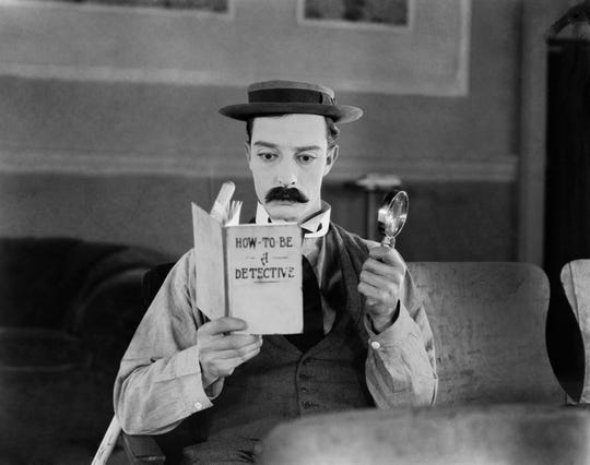 "Buster Keaton in ""Sherlock Jr."" (1924) from ""The Great Buster."""