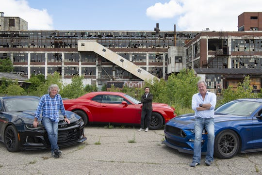 From left: James May, Richard Hammond and Jeremy Clarkson visit Detroit for the season three opener of Amazon Prime's 'The Grand Tour.'