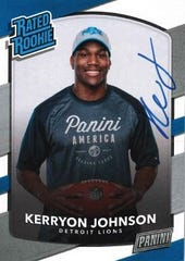 Detroit Lions running back Kerryon Johnson trading card for Panini