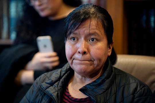 Maria Gomez speaks to the media at the office of attorney Richard Kessler in Grand Rapids, Mich., on Wednesday, Jan. 16, 2019. Gomez's son, Jilmar Ramos-Gomez, a U.S.-born Marine veteran was held for three days for possible deportation after pleading guilty to a disturbance at a western Michigan hospital.