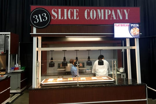 313 Slice Company is selling flatbreads including a vegetarian option at the Detroit auto show.