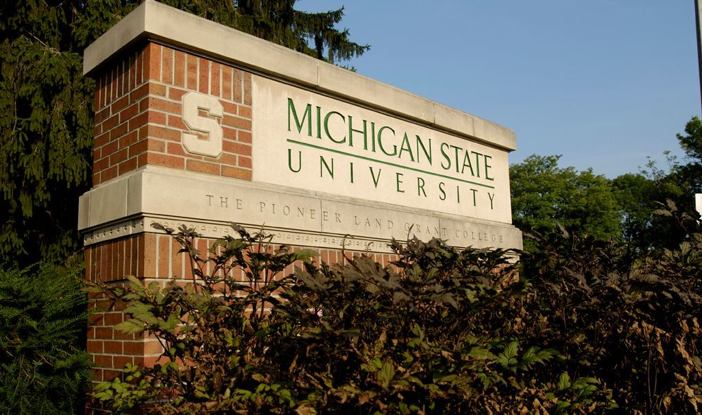 A sign at the Michigan State University campus in East Lansing, Michigan.