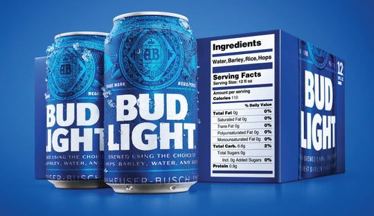 Bud Light packaging in February is to include serving facts labels and ingredients.