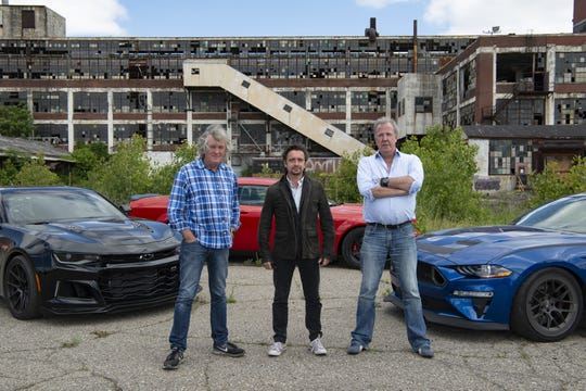 From left: James May, Richard Hammond and Jeremy Clarkson of 'The Grand Tour' on Amazon Prime visit Detroit in Jan. 18, 2019 episode