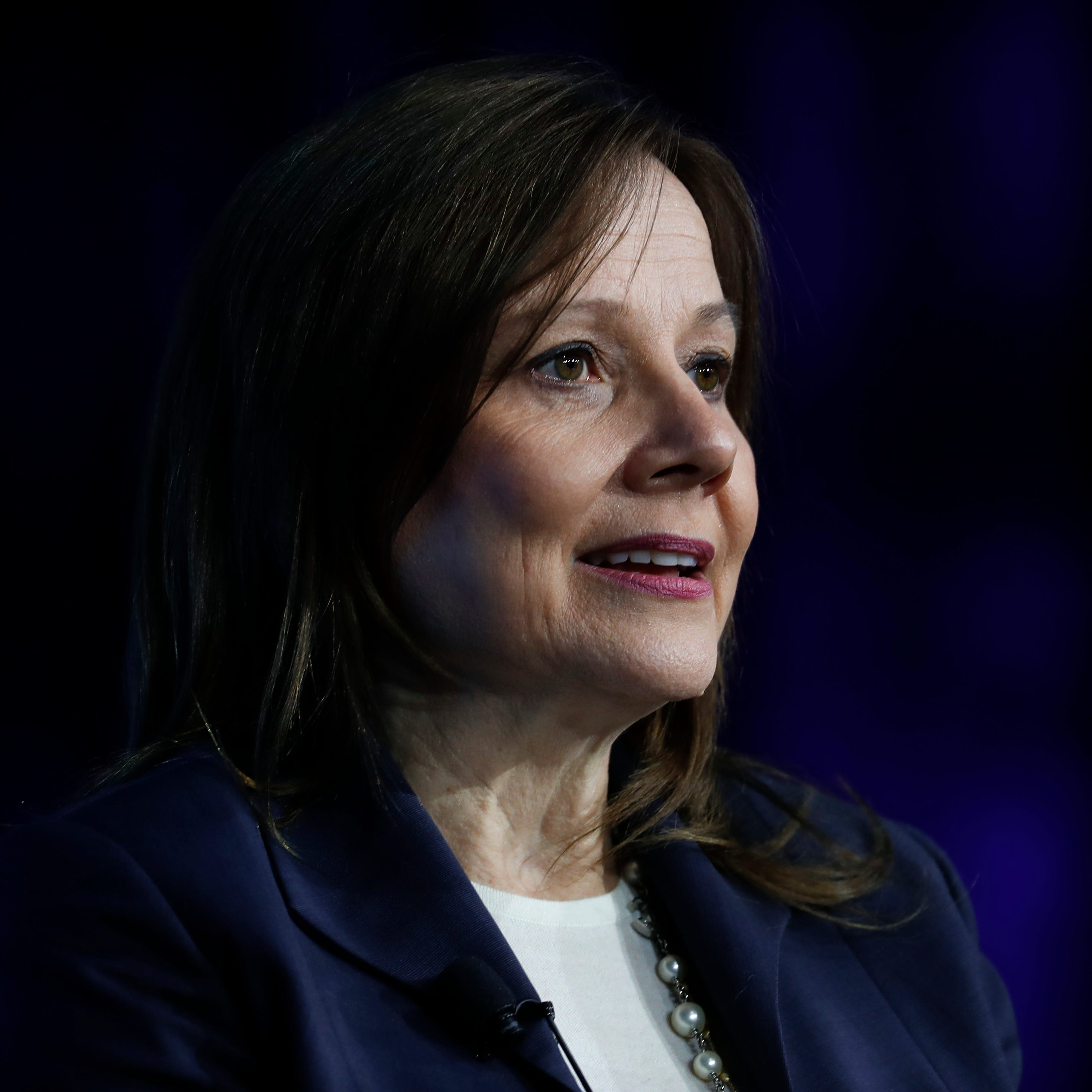 Mary Barra, Chairman and Chief Executive Officer, General Motors Company, speaks at the Automotive News World Congress in Detroit, Wednesday, Jan. 16, 2019. (AP Photo/Paul Sancya)