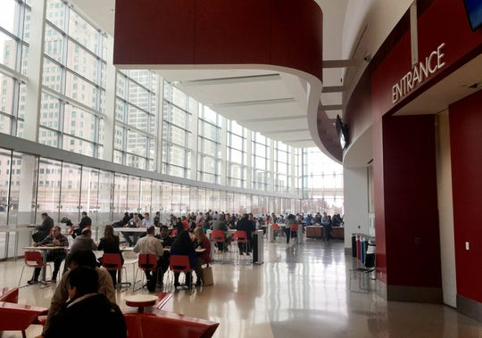 The Detroit Made Market dining area at the Detroit auto show.