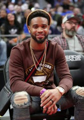 Detroit Lions defensive back Darius Slay attended the Detroit Pistons vs. Orlando Magic game Wednesday, January 16, 2019 at Little Caesars Arena in Detroit, Mich.