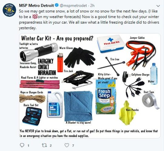 Michigan State Police posted a tweet Thursday morning advising residents to prepare for potential snow.