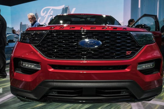The 2020 Ford Explorer ST is seen at the Ford Motor Co. display during the 2019 North American International Auto Show held at Cobo Center in downtown Detroit on Monday, Jan. 14, 2019.