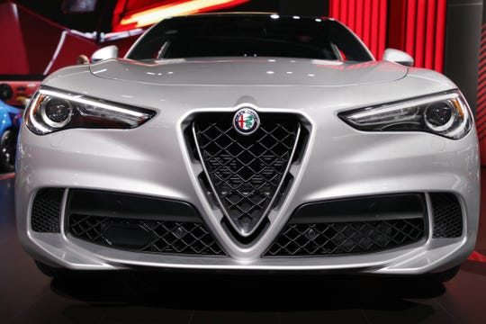 The 2020 Alfa Romeo Stelvio Quadrifoglio at the 2019 North American International Auto Show held at Cobo Center in downtown Detroit on Monday, Jan. 14, 2019.