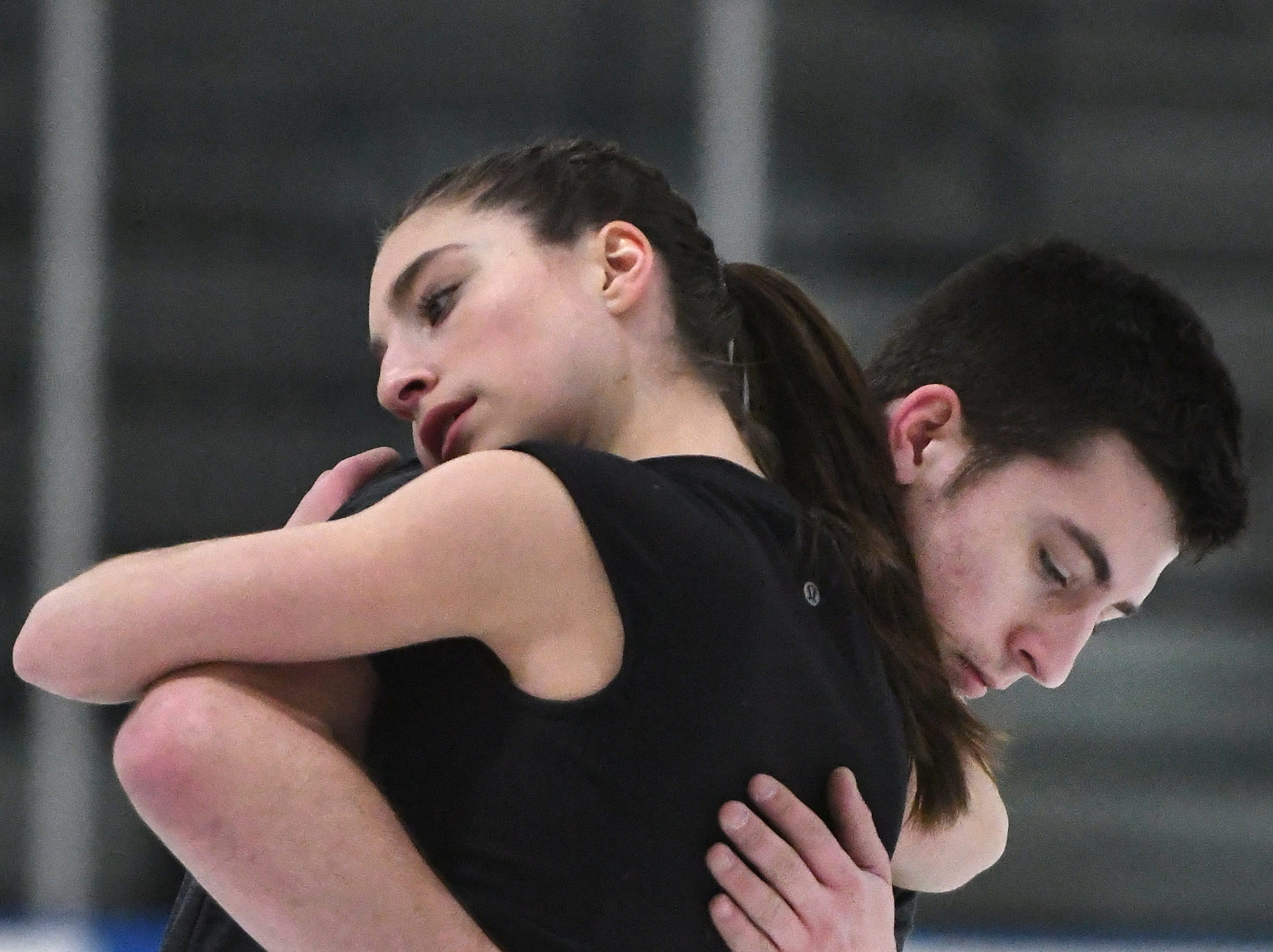Pairs figure skaters, Midland's Keyton Bearinger and his partner, Isabelle Goldstein, of Bloomfield Hills, practice at the Detroit Skating Club in Bloomfield Hills.