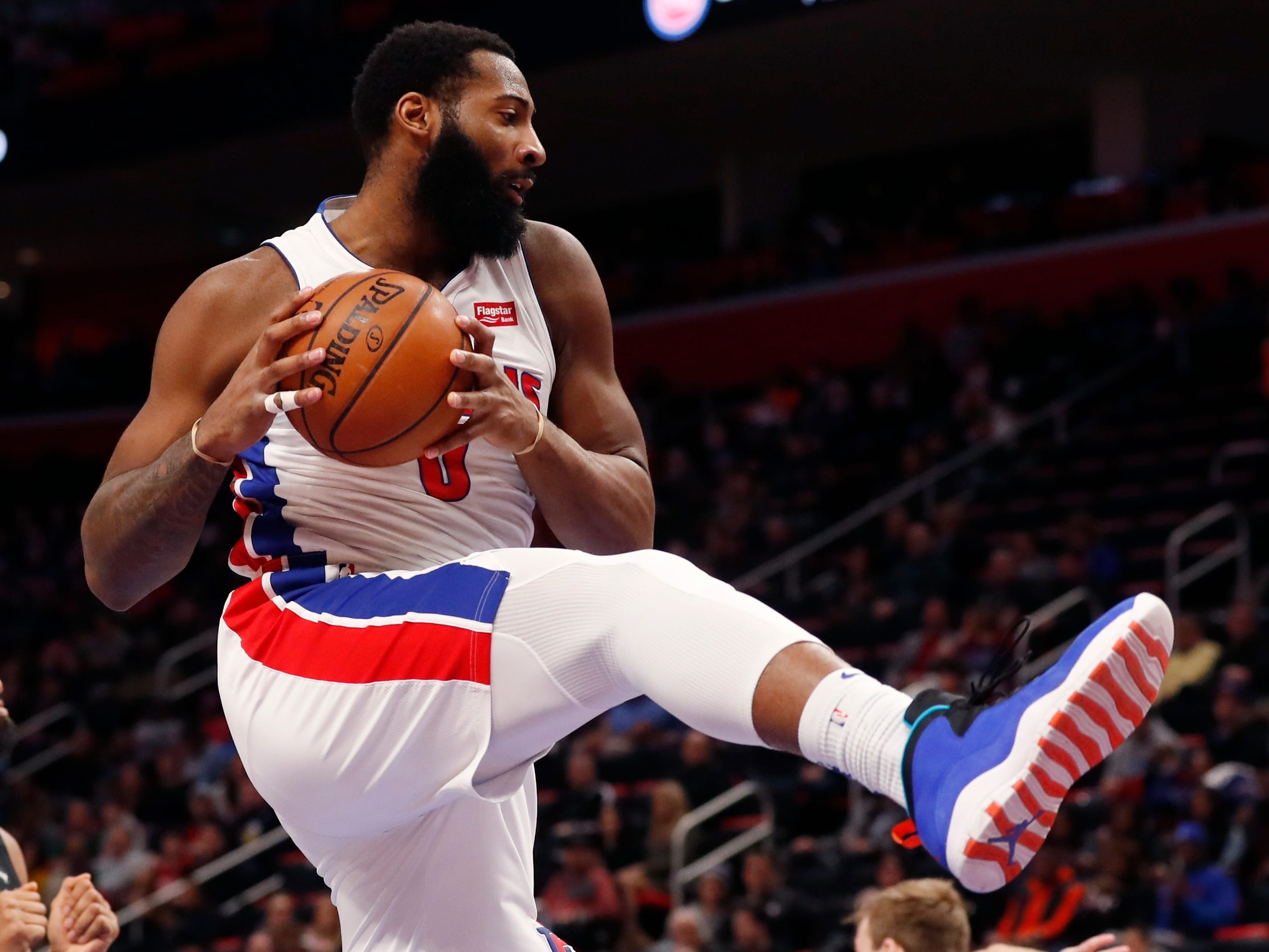 Detroit Pistons center Andre Drummond grabs a rebound during the second half.