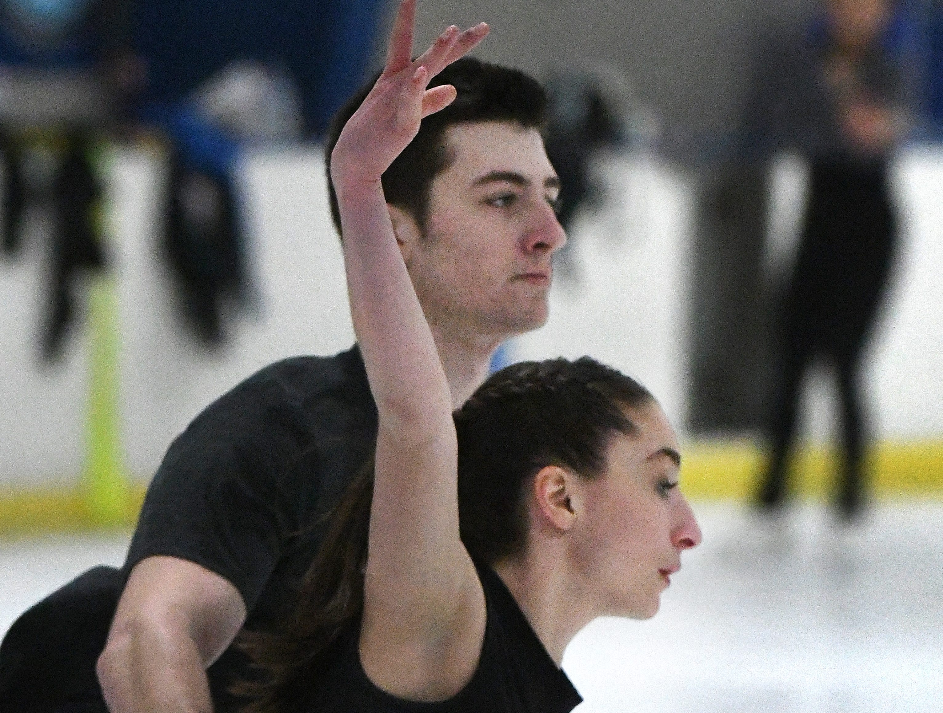 Pairs figure skaters, Midland's Keyton Bearinger and his partner Isabelle Goldstein, of Bloomfield Hills, practice at the Detroit Skating Club in Bloomfield Hills.