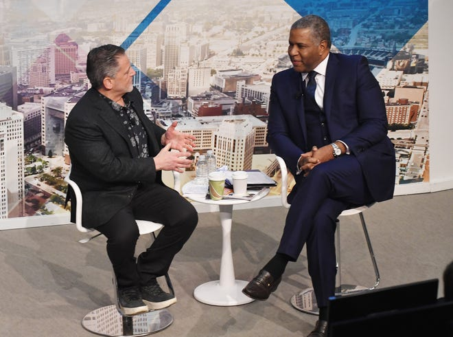 Dan Gilbert and Robert Smith participate in 'Detroit Youth Rising,' an intimate conversation at the Madison Building in Detroit on Jan. 16, 2019.