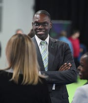 Lt. Gov. Garlin Gilchrist II speaks at the North American International Auto Show in Detroit on Thursday.