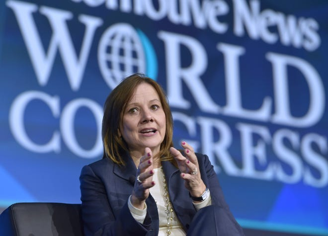 Mary Barra, General Motors Corp. Chaiman & CEO, answers a question during a fireside chat at the Automotive News World Congress dinner at the Renaissance Center Marriott Hotel in Detroit, Wednesday night, January 16, 2019.