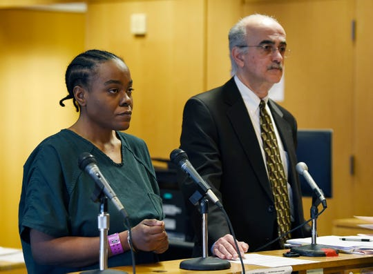 Lawanda Alford, 38,  pled guilty to animal abuse for the killing of her former boyfriend pets. She received 3 years of probation. Here she appears with her attorney Samuel Churikian for her sentencing at the Frank Murphy Hall of Justice in Detroit, January 17, 2019.