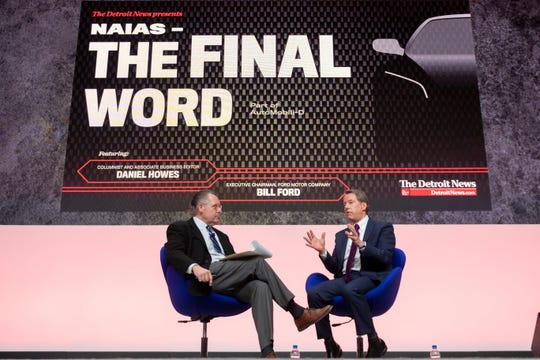 Daniel Howes, columnist and associate business editor of The Detroit News, left, and Ford Motor Co. Executive Chairman Bill Ford Jr. discuss the future of mobility at Cobo Center, in Detroit Thursday during 'The Final Word.'