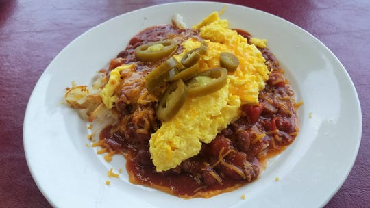 Spice up that breakfast with loaded hash browns at the Rose Hill Cafe. Topped with chili, egg, cheese and jalapenos.