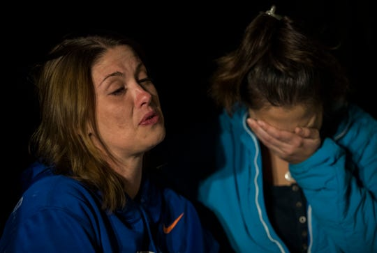 From left, Alana Tamplin's mother, Sarah, becomes emotional during an interview Wednesday evening alongside her best friend and Alana's godmother Tina Lander. Alana was killed Monday, Jan. 14, 2019, when a car ran into her while walking home.