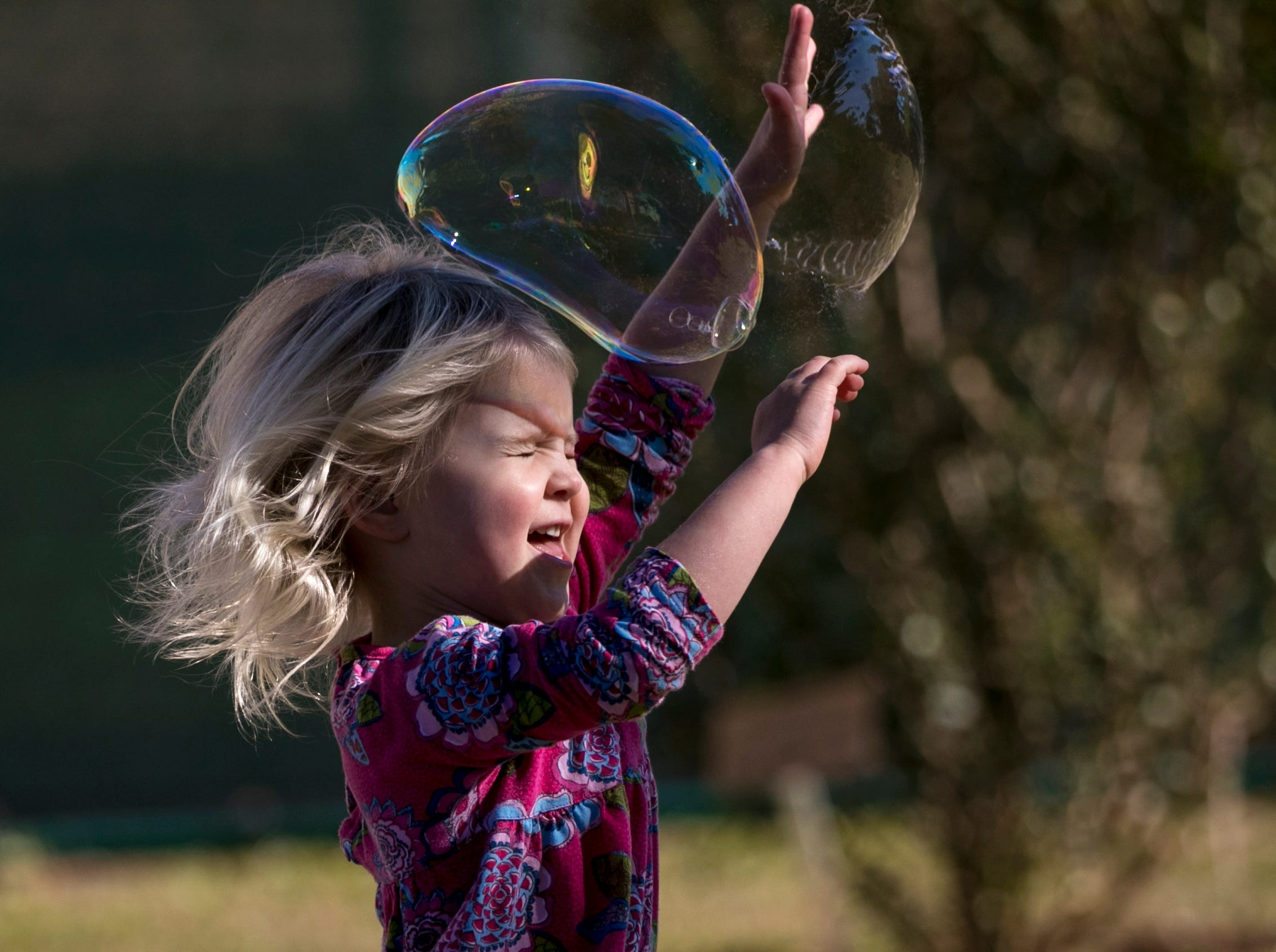 Stella Curry, 3, has fun with bubbles during the monthly Emerging Inventors program on Thursday, January 17, 2019, at the Edison & Ford Winter Estates in Fort Myers. This month's program was called Bouncing Bubbles. The next program, which is for children 5 and younger, is February 21 at 9:30 am, and is called is LEGO Art and Engineering.