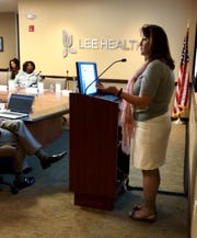 Lee Health Director of Epidemiology Mary Beth Saunders speaks to the board Thursday about the region's water crisis.